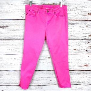 J Crew toothpick zippered ankle jean bright pink